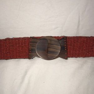 Anthropologie Beaded Coral Stretch Belt One Size